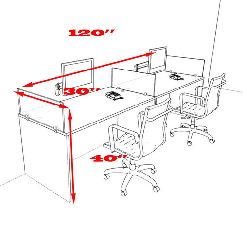 Two Person Modern Divider Office Workstation Desk Set, #OT-SUL-SP65