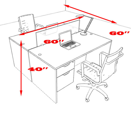 Two Person Modern Divider Office Workstation Desk Set, #OT-SUL-FP52
