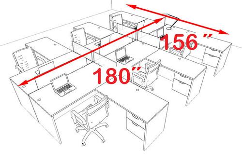 Six Person Modern Accoustic Divider Office Workstation Desk Set, #OT-SUL-FPRA46