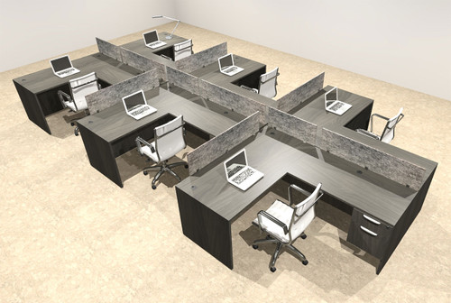 Six Person Modern Accoustic Divider Office Workstation Desk Set, #OT-SUL-SPRG80