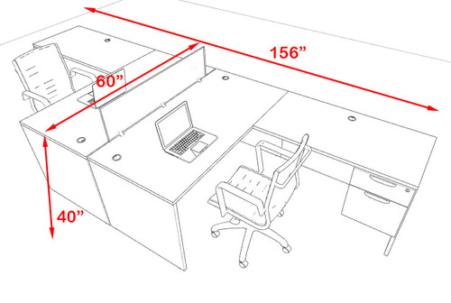 Two Person Modern Accoustic Divider Office Workstation Desk Set, #OF-CPN-FPRA37