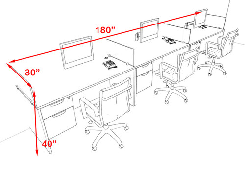 Three Person Modern Accoustic Divider Office Workstation Desk Set, #OF-CPN-SPRB25
