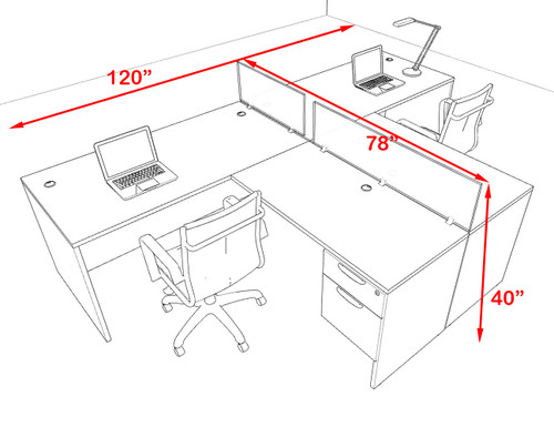 Two Person Modern Accoustic Divider Office Workstation Desk Set, #OF-CPN-SPRB53