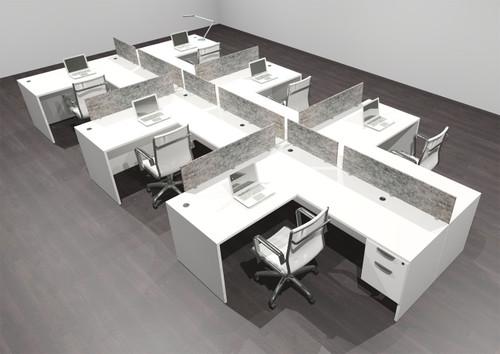 Six Person Modern Accoustic Divider Office Workstation Desk Set, #OF-CPN-SPRG61