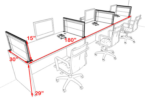 Three Person Modern Aluminum Organizer Divider Office Workstation Desk Set, #OT-SUL-SPS7