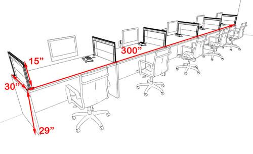 Five Person Modern Aluminum Organizer Divider Office Workstation Desk Set, #OT-SUL-SPS16