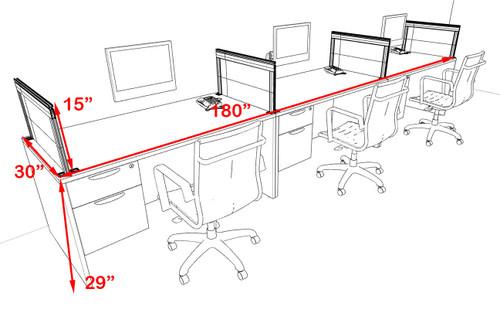 Three Person Modern Aluminum Organizer Divider Office Workstation Desk Set, #OT-SUL-SPS25