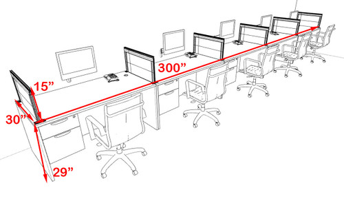 Five Person Modern Aluminum Organizer Divider Office Workstation Desk Set, #OT-SUL-SPS35
