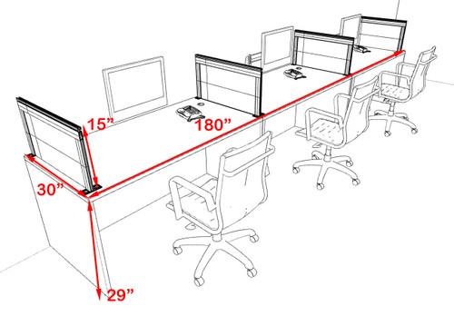 Three Person Modern Aluminum Organizer Divider Office Workstation Desk Set, #OT-SUL-SPS66