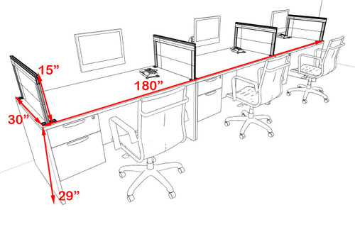 Three Person Modern Aluminum Organizer Divider Office Workstation Desk Set, #OT-SUL-SPS71