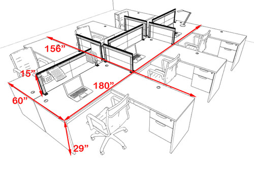 Six Person L Shape Modern Aluminum Organizer Divider Office Workstation Desk Set, #OT-SUL-FPS46