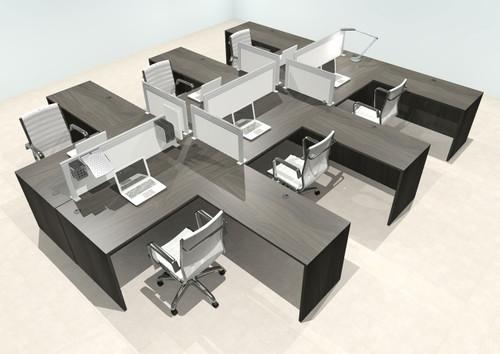 Six Person L Shape Modern Aluminum Organizer Divider Office Workstation Desk Set, #OT-SUL-FPS57
