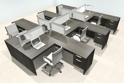 Six Person L Shape Modern Aluminum Organizer Divider Office Workstation Desk Set, #OT-SUL-FPS60