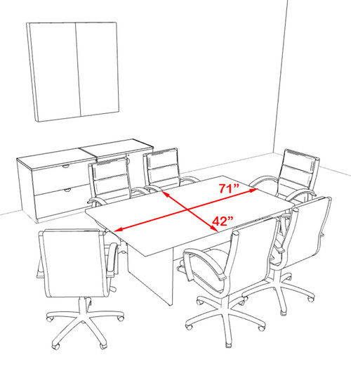 Modern Rectangular 6' Conference table, #OT-SUL-C16
