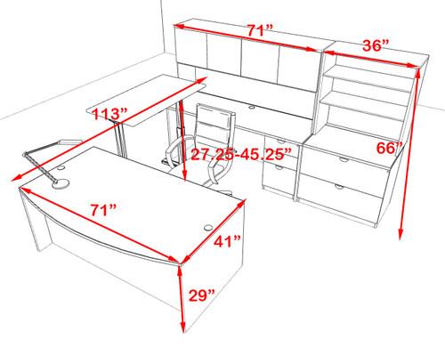 7PC U Shape Modern Executive Office Desk w/Height Adjustable Desk, OT-SUL-UH57