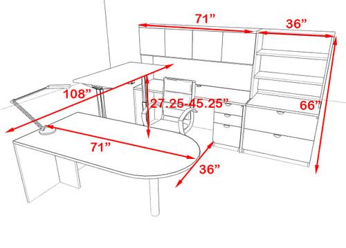 4PC U Shape Modern Executive Office Desk w/Height Adjustable Desk, OT-SUL-UH58