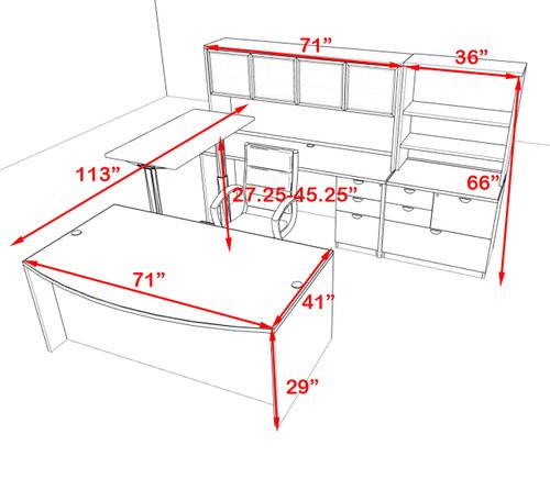 7PC U Shape Modern Executive Office Desk w/Height Adjustable Desk, OT-SUL-UH64