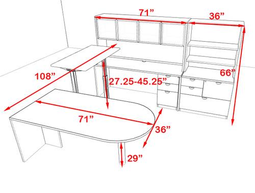 7PC U Shape Modern Executive Office Desk w/Height Adjustable Desk, OT-SUL-UH65