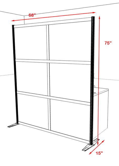 One Loft Modern Office Home Aluminum Frame Partition / Divider / Sneeze Guard, #UT-ALU-P21