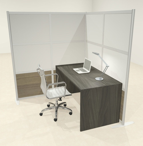 One L Shaped Loft Modern Office Home Aluminum Frame Partition / Divider / Sneeze Guard, #UT-ALU-P42-B