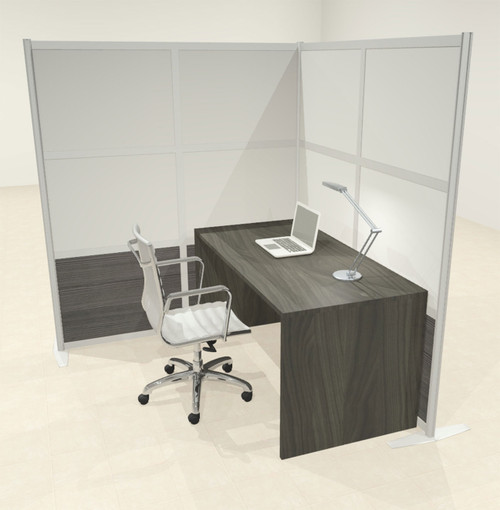 One L Shaped Loft Modern Office Home Aluminum Frame Partition / Divider / Sneeze Guard, #UT-ALU-P43-C