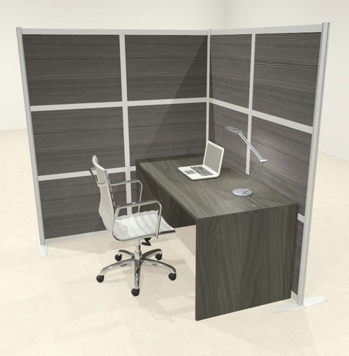One L Shaped Loft Modern Office Home Aluminum Frame Partition / Divider / Sneeze Guard, #UT-ALU-P48