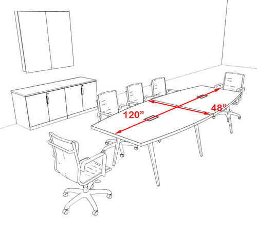 Modern Boat shaped 10' Feet Conference Table, #OF-CON-CW14