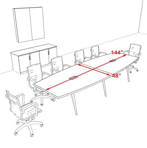 Modern Boat shaped 12' Feet Conference Table, #OF-CON-CW16
