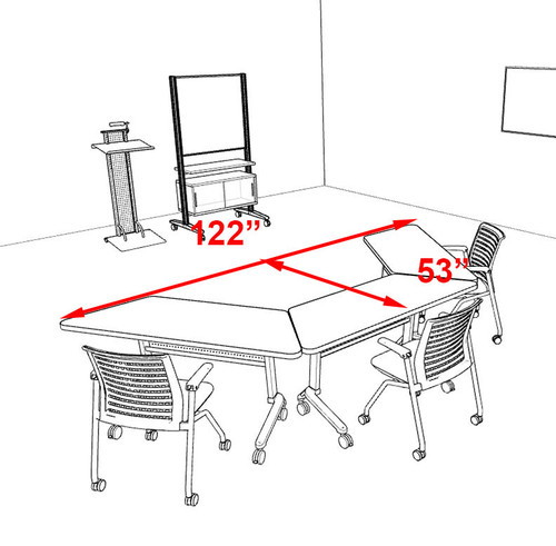 3pcs U Shape Training / Conference Table Set, #MT-SYN-LT52