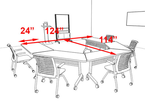 5pcs U Shape Training / Conference Table Set, #MT-SYN-LT56