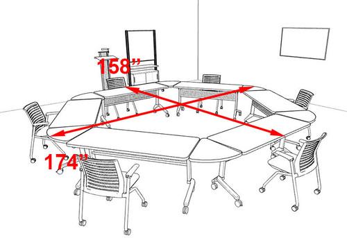 6pcs Hexagon Shape Training / Conference Table Set, #MT-SYN-LT37