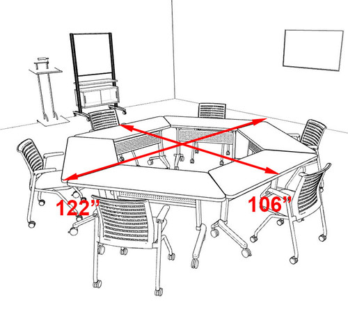 6pcs Hexagon Shape Training / Conference Table Set, #MT-SYN-LT48