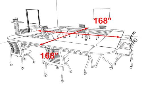 8pcs Square Shape Training / Conference Table Set, #MT-SYN-LT14