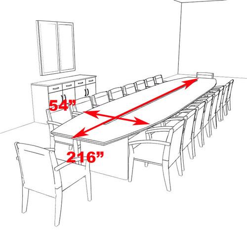 Modern Boat Shaped 18' Feet Veneer Office Conference Table, #RO-COR-C14