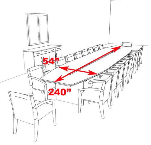 Modern Boat Shaped 20' Feet Veneer Office Conference Table, #RO-COR-C16
