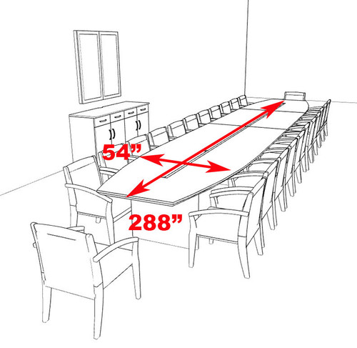 Modern Contemporary 24' Feet Veneer Office Conference Table, #RO-COR-C17