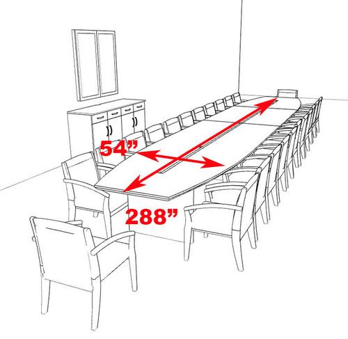 Modern Boat Shaped 24' Feet Veneer Office Conference Table, #RO-COR-C18