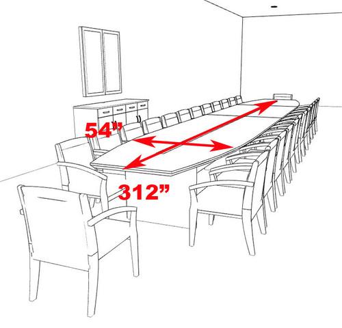 Modern Boat Shaped 26' Feet Veneer Office Conference Table, #RO-COR-C20