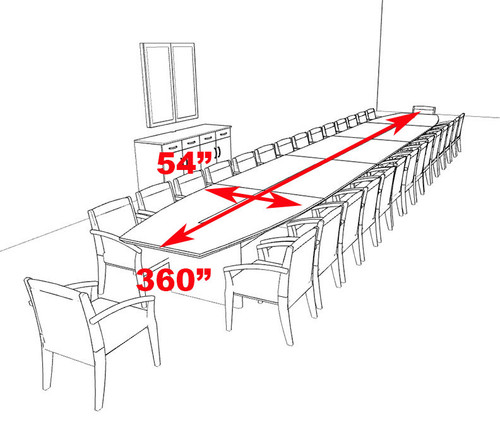 Modern Boat Shaped 30' Feet Veneer Office Conference Table, #RO-COR-C21