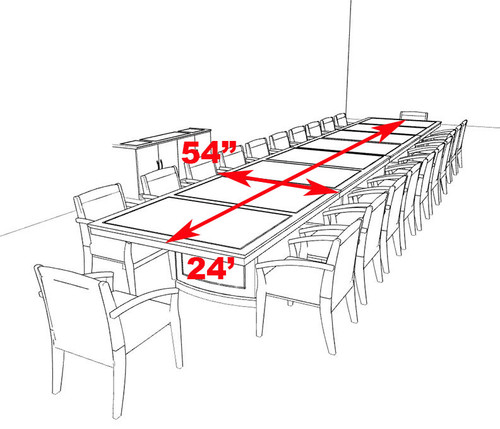 Traditional Rectangular 24' Feet Office Conference Table, #RO-SOR-C6