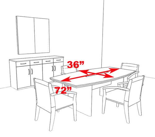 Modern Boat Shaped 6' Feet Veneer Office Conference Table, #RO-COR-C2
