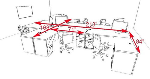 Six Persons Modern Executive Office Workstation Desk Set, #CH-AMB-F30
