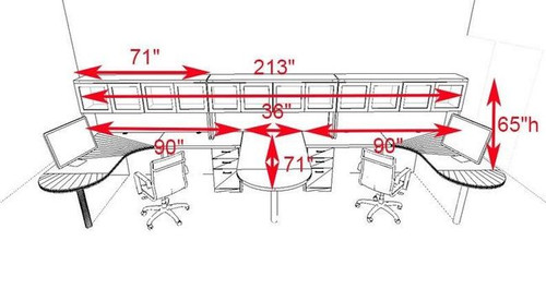 Two Persons Modern Executive Office Workstation Desk Set, #CH-AMB-S56