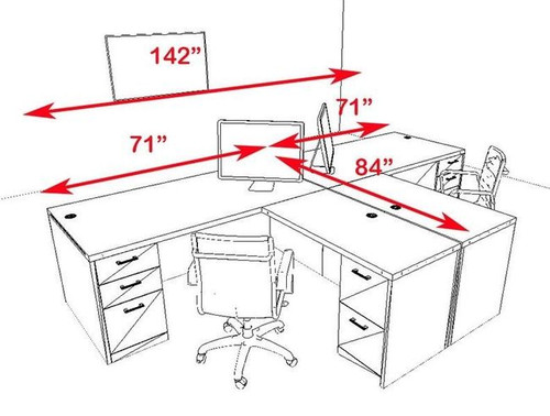 Two Persons Modern Executive Office Workstation Desk Set, #CH-AMB-S1