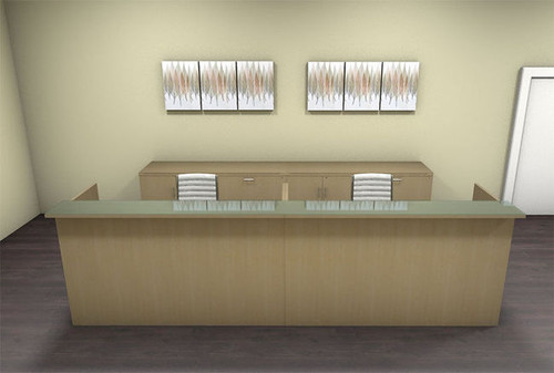 2pc 12' Feet Modern Glass Counter Reception Desk Set, #CH-AMB-R12