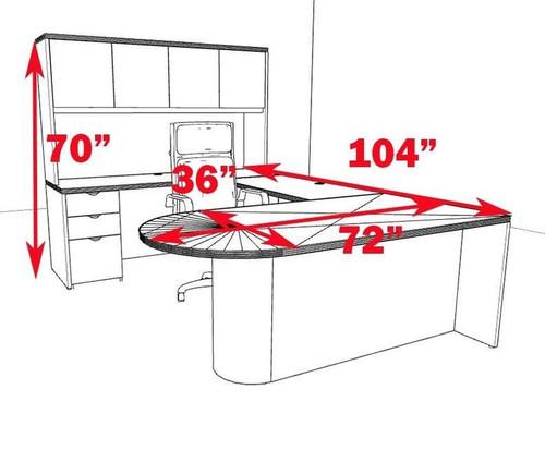 5pc U Shape Modern Contemporary Executive Office Desk Set, #CH-JAD-U13