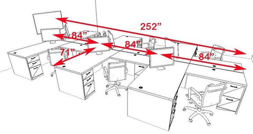 Six Persons Modern Executive Office Workstation Desk Set, #CH-AMB-S14