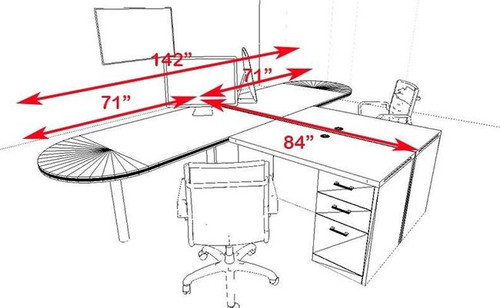 Two Persons Modern Executive Office Workstation Desk Set, #CH-AMB-S16