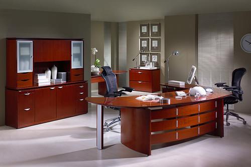 3pc Oval Shape Modern Contemporary Executive Office Desk Set, #PF-TEC-O1