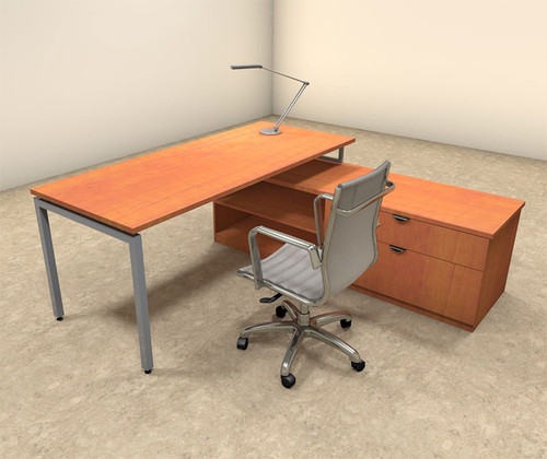 2pc L Shaped Modern Contemporary Executive Office Desk Set, #OF-CON-L46